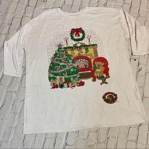 Vintage Ugly Christmas Bear Glitter Print Top XXXL